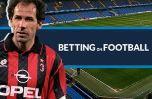 Franco Baresi, storico giocatore del Milan, e il logo di Betting on Football. Sullo sfondo lo stadio di Stamford Bridge a Londra