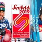 Gli sciatori di fondo Federico Pellegrino e Francesco De Fabiani, il logo dei mondiali di sci nordico 2019 di Seefeld