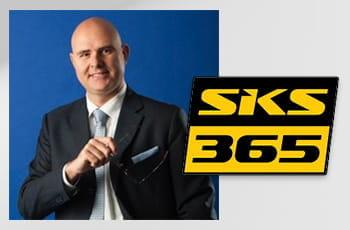 Francesco Gaziano, Country Manager per l'Italia di SKS365, e il logo dell'azienda
