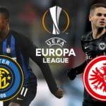 Keita Balde, il logo dell'Inter, Mijat Gaćinović e il logo dell'Eintracht Francoforte e il logo dell'Europa League