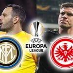 Samir Handanovic e il logo dell'Inter, Luka Jovic e il logo dell'Eintracht Francoforte e il logo dell'Europa League