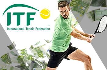 Un tennista in azione, delle banconote da 100€ e il logo della ITF, International Tennis Federation