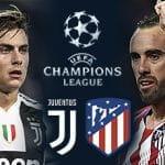 Paulo Dybala con il logo della Juventus, Diego Godin con il logo dell'Atletico Madrid e il logo della Champions League