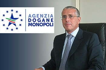 Il direttore generale di ADM Benedetto Mineo e il logo dell'Agenzia delle Dogane e dei Monopoli