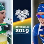 Dorothea Wierer, Lisa Vittozzi, il logo dei mondiali di biathlon 2019 di Östersund