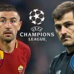 Aleksandar Kolarov e il logo della Roma, Iker Casillas e il logo del Porto e il logo della Champions League