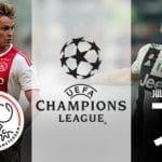 Frankie De Jong e il logo dell'Ajax, Mario Mandzukic e il logo della Juventus e il logo della Champions League