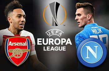 Pierre-Emerick Aubameyang e il logo dell'Arsenal, Arkadiusz Milik e il logo del Napoli e il logo dell'Europa League