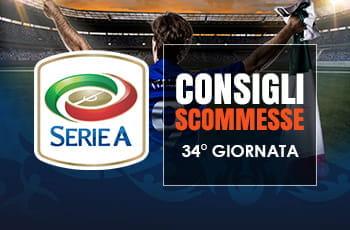 Il logo della Serie A, uno stadio affollato, un calciatore visto di schiena e la scritta Consigli scommesse 34° giornata