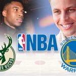 Giannis Antetokounmpo, Stephen Curry, il logo di Milwaukee Bucks, il logo di Golden State Warriors, il logo dell'NBA, un campo da basket in background