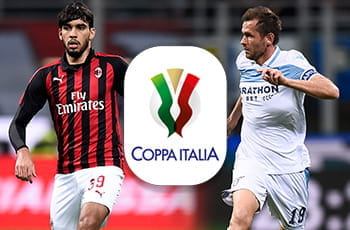 Lucas Paquetà e Nenad Lulic e il logo della Coppa Italia