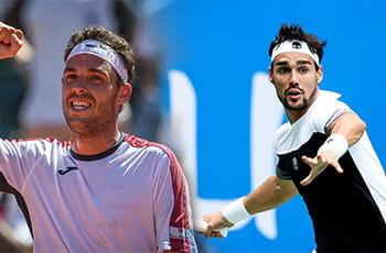 I tennisti italiani Fabio Fognini e Marco Cecchinato