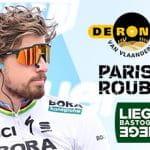 Il ciclista slovacco Peter Sagan e i loghi delle tre Classiche del Nord: Giro delle Fiandre, Parigi - Roubaix, Liegi- Bastogne - Liegi