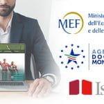Un uomo mostra un laptop su cui sono alcuni atleti e la schermata di un sito scommesse, con i loghi del Ministero Economia e Finanze, dell'Agenzia Dogane e Monopoli e dell'Istat
