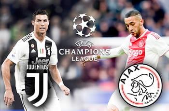 Cristiano Ronaldo e il logo della Juventus, Hakim Ziyech e il logo dell'Ajax e il logo della Champions League