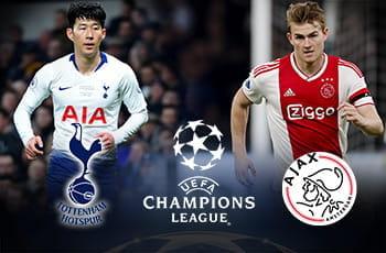 Son Heung-min e il logo del Tottenham, Matthijs De Ligt e il logo dell'Ajax e il logo della Champions League