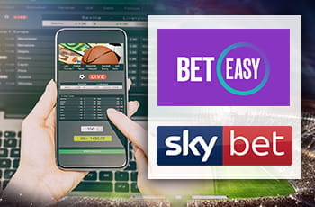 Uno smartphone e due mani che stanno piazzando una scommessa, il logo di BetEasy, il logo di Sky Bet