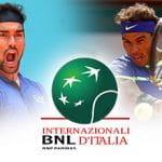 Fabio Fognini, Rafael Nadal, il logo degli Internazionali BNL d'Italia