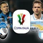 Josip Ilicic e lo stemma dell'Atalanta, Senad Lulic e lo stemma della Lazio e il logo della Coppa Italia