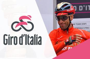 Il logo del Giro d'Italia e Vincenzo Nibali