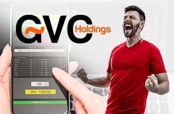 Il logo GVG Holdings, uno smartphone connesso ad un sito scommesse, un calciatore che esulta