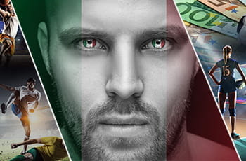 Primo piano di uomo con colori della bandiera italiana, un giocatore di basket, una giocatrice di pallavolo, due calciatori in contrasto, delle banconote