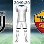 Il logo della Juventus, il logo della Roma, una divisa da calcio bianca e la scritta 2019-20