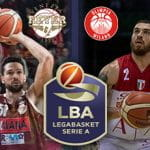 I giocatori di basket Mike James, Mitchell Watt, i loghi di Olimpia Milano, Reyer Venezia, Lega Basket Serie A