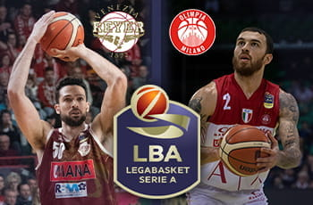 I giocatori di basket Mike James, Mitchell Watt, i loghi di Olimpia Milano, Reyer Venezia, Lega Basket Serie A