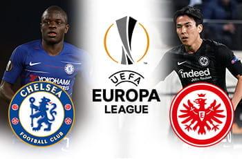 Ngolo Kante con lo stemma del Chelsea, Makoto Hasebe con lo stemma dell'Eintracht Francoforte e il logo dell'Europa League