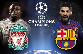 Sadio Mané e lo stemma del Liverpool, Luis Suarez e lo stemma del Barcellona e il logo della Champions League