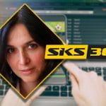Isabella Cattan, marketing director di SKS365, il logo dell'azienda e sullo sfondo un computer portatile connesso a un bookmaker online
