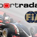 Una macchina da corsa e i loghi di Sportradar e della Federazione Internazionale dell'Automobile