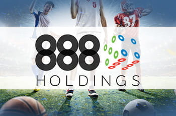 Il logo di 888 Holdings e alcuni atleti in azione