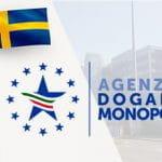 Il logo dell'Agenzia Dogane e Monopoli e la bandiera della Svezia