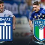 Andreas Samaris, Andrea Belotti, il logo della Nazionale di calcio greca, il logo della nazionale di calcio italiana