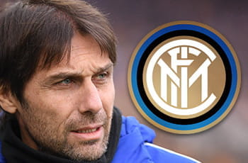 Antonio Conte e il logo dell'Inter
