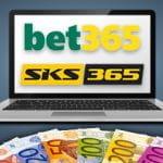 Un laptop, i loghi di bet365 e SKS365, delle banconote in euro di diversi tagli
