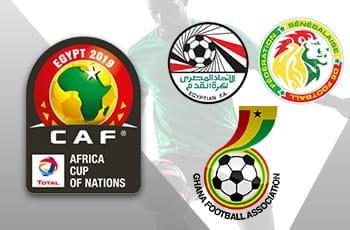 I loghi della Coppa d'Africa 2019 e delle Federazioni di Egitto, Ghana e Senegal