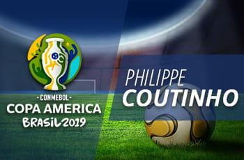Uno stadio di calcio, il logo della Coppa America 2019 e la scritta Philippe Coutinho