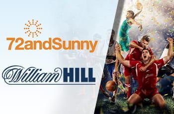 Il logo dell'agenzia creativa 72andSunny, il logo del bookmaker William Hill, degli sportivi che esultano