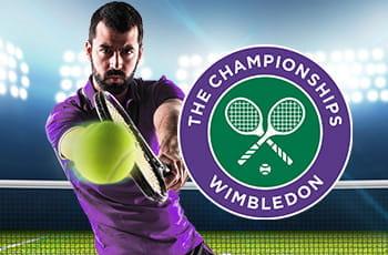 Un tennista generico e il logo di Wimbledon
