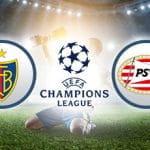Il logo del FC Basilea, il logo della Champions League, il logo del PSV Eindhoven