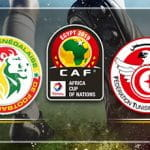I loghi della Coppa d'Africa 2019, della squadra del Senegal e di quella della Tunisia