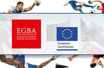 Alcuni sportivi in azione e i loghi di Egba e della Commissione Europea
