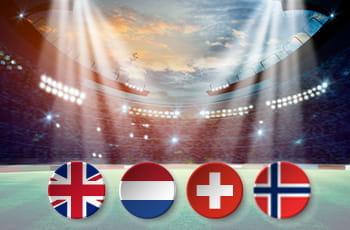 Uno stadio da calcio e le bandiere di Regno Unito, Olanda, Svizzera e Norvegia