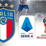 Il logo della FIGC, il logo della Serie A, il logo del mondiale di calcio Russia 2018