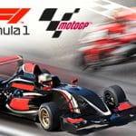 Il logo della Formula 1, il logo della MotoGP, un'auto da corsa, una moto da corsa
