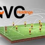 Il logo di GVC Holdings e una riproduzione di calcio giocattolo