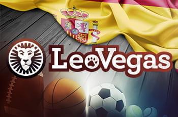Palloni sportivi, il logo di LeoVegas e la bandiera della Spagna